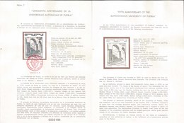 V) 1987 MEXICO, FIFTH ANNIVERSARY OF THE AUTONOMOUS UNIVERSITY OF PUEBLA, FDB - Mexico