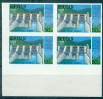 BHOUTAN N°803A (1988)bloc De 4 NON DENTELE N Xx Barrage Hydroélectrique TB. Rare. - Bhoutan