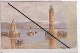 Allemagne ; Lindau I. B. Hafeneinfahrt. (entrée Du Port,/ Phare)signature J.Heixinger - Lindau A. Bodensee
