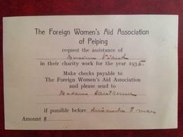 Viaud Consul De France à Canton, Foreign Women's Aid Association Of Peiping 1936 - Vieux Papiers