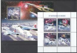 L1195 2006 S.TOME E PRINCIPE AVIATION SPACE CONCORDE 1KB+1BL MNH - Concorde