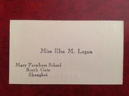 Carte De Visite Années 50 Elsa M Logan Shanghai - Visiting Cards
