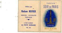Ancien Calendrier De Poche Parfumé De 1965. Parfum Bourjois Soir De Paris. Madame Meunier à La Ferté-Bernard - Calendari
