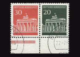 BRD 1966, Michel-Nr. 508/507, Freimarken Brandenburger Tor, Zusammendruck Aus MHB 12, Bogenrand - [7] West-Duitsland