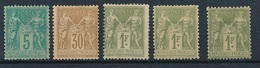 """CZ-221: FRANCE: Lot Avec  Type """"SAGE"""" N°75NSG-80*(2ème Choix)-82*(3) Tous Comptés NSG - 1876-1898 Sage (Type II)"""