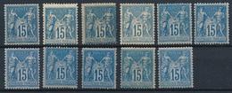 """CZ-223: FRANCE: Lot Avec  Type """"SAGE"""" N°90*(11) Pour étude De Teinte - 1876-1898 Sage (Type II)"""