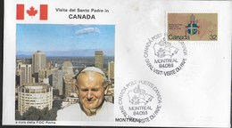 PAPAL VISIT - VISIT DU PAPE - 11.09.1984 - ANNULLO SPECIALE MONTREAL - Primi Giorni (FDC)