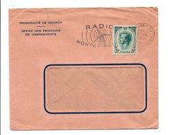 MONACO SEUL SUR LETTRE POUR LA FRANCE 1958 - CACHET DATEUR INVERSE - Monaco