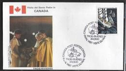 PAPAL VISIT - VISIT DU PAPE - 10.09.1984 - ANNULLO SPECIALE TROIS-RIVIERES - Primi Giorni (FDC)