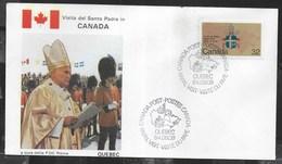 PAPAL VISIT - VISIT DU PAPE - 09.09.1984 - ANNULLO SPECIALE QUEBEC - Primi Giorni (FDC)