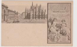 Panettone E Cioccolata Giuseppe Baj, Milano Piazza Duomo, Pubblicitaria - F.p. - Fine '1800 / Primi '1900 - Pubblicitari