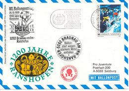 Austria UN Vienna Balloonflight Cover 1200 Years Anniversary Ranshofen 26-10-1988 - Covers & Documents