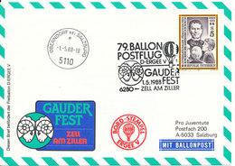Austria Balloonflight Cover Gauder Fest Zell Am Ziller 1-5-1988 - Balloon Covers