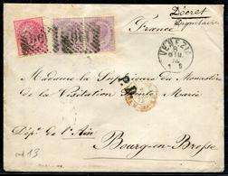 ITALIE - N° 19 + 20 (2) / LETTRE DE VENEZIA LE 8/6/1874 POUR BOURG EN BRESSE - TB - Storia Postale
