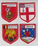 ECUSSON PLASTIQUE X4  Collection SERIE DES GRANDES CAPITALES De DANONE / Londres,oslo,varsovie,bruxelles - Scudetti In Tela