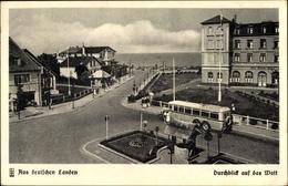 Cp Cuxhaven In Niedersachsen, Durchblick Auf Das Watt, Straßenpartie, Bus - Duitsland