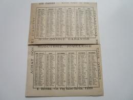 AUX FIANCES - Horlogerie-Bijouterie-Joaillerie - E. SEURRE - 129, Fbg St-Martin - Calendrier 1884 En 2 Parties - Arrondissement: 10