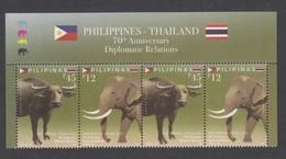 Filippine Philippines Philippinen Pilipinas 2019 70th Relations With Thailand Strip Of 2 Set Se-tenant + Top Label MNH** - Filippine