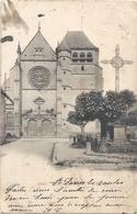 """BAR-SUR-SEINE . L'EGLISE . AFFR AU VERSO . OBLIT CONVOYEUR De """" IS-S-TILLE A TROYES """" 16-9-1903 . 2 SCANES - Bar-sur-Seine"""