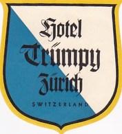 ZURICH HOTEL TRUMPY ETIQUETTE - Suisse