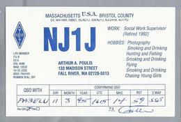 US.- QSL KAART. CARD. NJ1J. ARTHUR A. POULIS, FALL RIVER, MASSACHUSETTS. BRISTOL COUNTY. U.S.A. - Radio-amateur