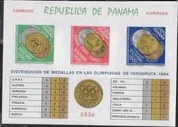 PANAMA - 1964 - GIOCHI OLIMPICI INVERNALI - INNSBRUCK '94 - MEDAGLIERE - FOGLIETTO NUOVO **NH (MICHEL BL 29B) - Inverno1964: Innsbruck