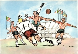 Artiste Cp Zurli, XVII. Olympische Spiele 1960 In Rom, Fußball, Fußballspieler - Cartoline