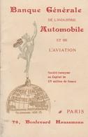VIEILLE PUBLICITE BANQUE AUTOMOBILE Et AVIATION 75000 PARIS - BLERIOT LATHAM - Advertising