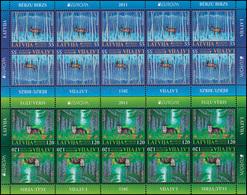 2011 Lettland 804-805 Der Wald: Reh Und Wolf, Kleinbogen-Satz ** Postfrisch - Europa-CEPT