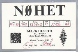 US.- QSL KAART. CARD. NØHET. NOHET. MARK HUSETH, ELBOW LAKE, MINNESOTA. GRANT COUNTY. U.S.A. - Radio-amateur