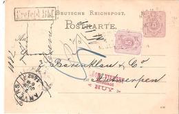 EP. Carte Obl. CREFELD BHF En 1882 Vers ANVERS (BELGIEN) - Briefe U. Dokumente