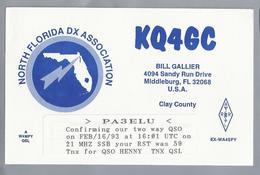 US.- QSL KAART. CARD. KQ4GC. BILL GALLIER, MIDDLEBURG, FL. NORTH FLORIDA DX ASSOCIATION. CLAY COUNTY. U.S.A. - Radio-amateur