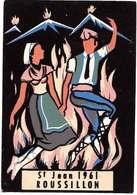 66  Feux De La St Jean 1961 Roussillon Carte Floquée éditeur Carrere à Perpignan Dos Scanné - France