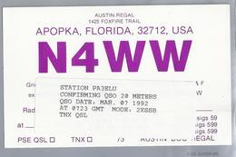 US.- QSL KAART. CARD. N4WW. AUSTIN REGAL, APOPKA, FLORIDA. ORANGE COUNTY. U.S.A. - Radio-amateur