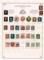 Grande-Bretagne Ancienne Collection Sur Feuilles D'époque - Sammlungen (ohne Album)