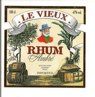 """Etiquette Rhum """" Le Vieux"""" - Ambré - Importé Par La Distillerie Girard, Jonquières - - Rhum"""