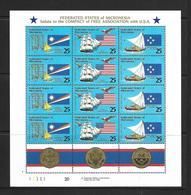 PALAU 1990 FEUILLET ASSOCIATION AVEC LES USA YVERT N°148/50 NEUF MNH** - Micronésie