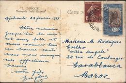 Affranchissement Mixte YT France 189 + C Somalis 93 CAD Cote Française Somalis Djibouti 24 Fe 39 CP Mosquée Saïd Hassen - Lettres & Documents