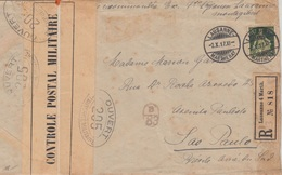 Schweiz - 50 Rp Sitz. Helvetia Einschreibebrief N BRASILIEN Lausanne 1917 Zensur - Suisse