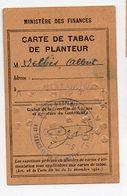 (guerre 39-45) Rationnement : CARTE DE TABAC DE PLANTEUR (PPP19741) - Documenten