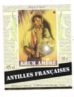 Etiquette   RHUM  Ambré - Antilles Françaises - Distribué Par Védrenne - Saxophone - - Rhum