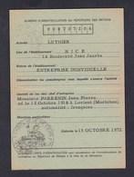 Carte D' Identification Entreprise Jean Pierre Parrenin Luthier Nice Chambre Metiers Alpes Maritimes - Vieux Papiers