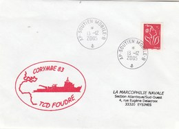 Mission CORYMBE 83 TCD FOUDRE Cachet Agence Postale AP SOUTIEN MOBILE B 13/12/2005 - Posta Marittima