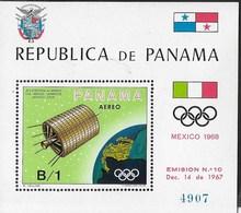 PANAMA - 1968 - GIOCHI OLIMPICI ESTIVI MEXICO '68 - SATELLITE TELEVISIVO - FOGLIETTO NUOVO **NH (MICHEL BL 105) - Estate 1968: Messico