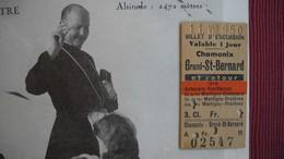 """Publicité Pour Les Voyages """" Vovillamoz Car """". Grand Saint-bernard  Avec Billet Ticket Chamonix Grand St Bernard .2 Scan - Pubblicitari"""