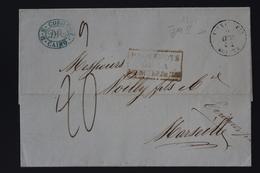 France Lettre Paquebot Alexandria - Cairo - Marseille 1854 Paquebots De La Mediteranee - Marcofilie (Brieven)