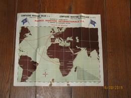Affiche - Tracé Des Routes Maritimes Des Compagnies Maritime Belge Et Congolaise - Anvers / Léopoldville - CONGO (b258) - Posters