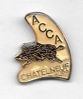 Pin's  Ville, Département, Chasse  A.C.C.A  CHATELNEUF, JURA  ( 39 ) Avec Un Animal  SANGLIER - Associations