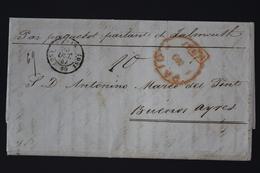 France Lettre Paquebot Paris Falmouth Buenos Ayres Buenis Aires 1847  Paid PD Rouge - Marcofilie (Brieven)
