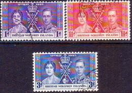 BRITISH SOLOMON ISLANDS 1937 SG #57-59 Compl.set Used Coronation - British Solomon Islands (...-1978)